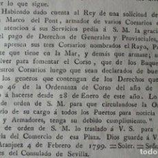 Antigüedades: REAL ORDEN , ARMADOR DE BUQUES EN VIGO, POR APRESAR SUS 3 BARCOS, AÑO 1.779. Lote 201793428