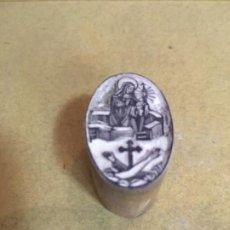 Antigüedades: (M) IMPRENTA - ANTIGUO TAMPON TALLADO DE BOJ PARA IMPRIMIR - VIRGEN - S.XVIII -XIX . Lote 202431232