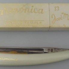 Antigüedades: NAVAJA DE AFEITAR FILARMONICA DOBLE TEMPLE Nº 13 JOSÉ MONSERRAT POU. Lote 202585183