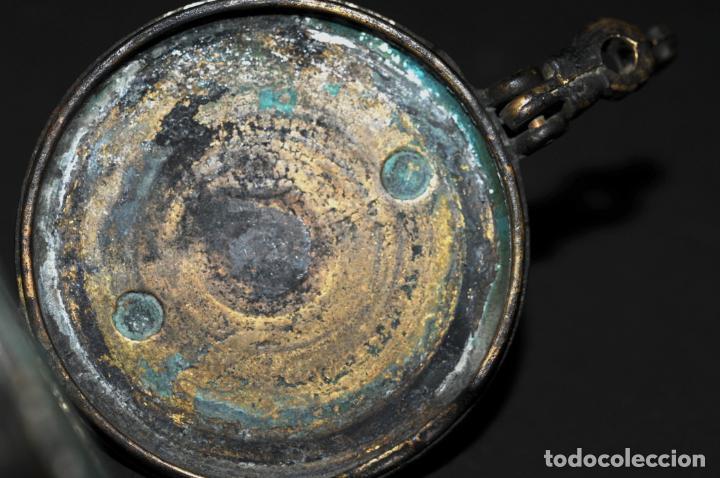 Antigüedades: ORIGINAL PONDERAL DE BRONCE - CON MARCAS EN EL INTERIOR DE LA TAPA - Foto 7 - 202877370