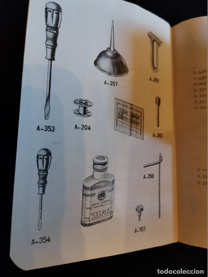 Antigüedades: LIBRO DE INSTRUCCIONES Y PIEZAS CATALOGADAS DE LA MÁQUINAS DE COSER SIGMA - Foto 4 - 202898160