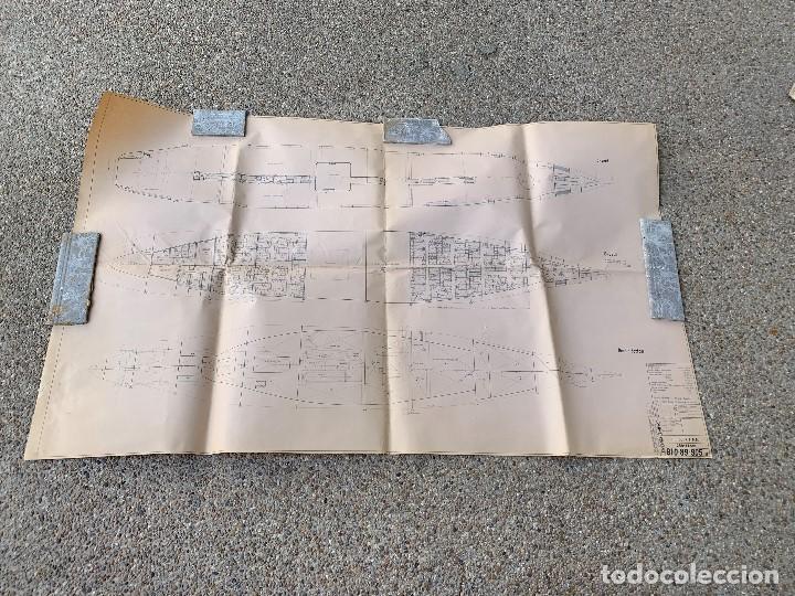 PLANO BARCO FERRY EMBARCACION NAVIERA TRANSMEDITERRANEA COCKERILL OUGREE CAR FERRY 89X147CMS (Antigüedades - Antigüedades Técnicas - Marinas y Navales)