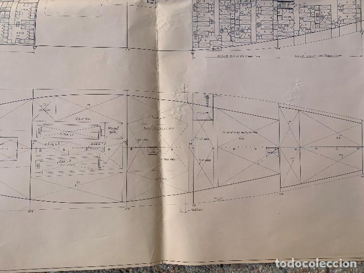 Antigüedades: plano barco ferry embarcacion naviera transmediterranea cockerill ougree car ferry 89x147cms - Foto 3 - 216746476