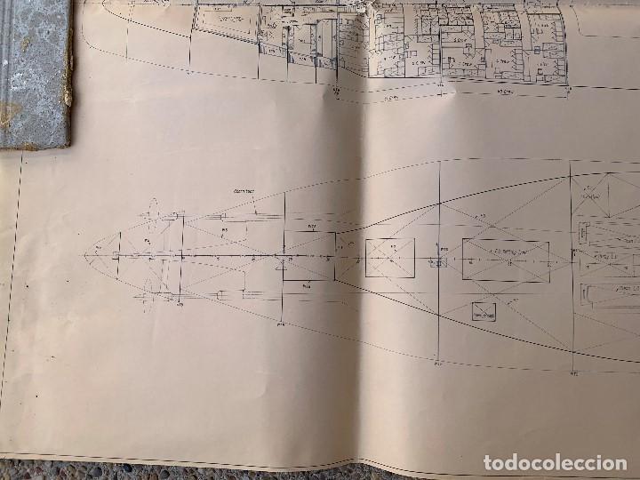 Antigüedades: plano barco ferry embarcacion naviera transmediterranea cockerill ougree car ferry 89x147cms - Foto 4 - 216746476