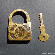 Antigüedades: CANDADO DE BRONCE JARDI. 5X6,5.. Lote 203172991