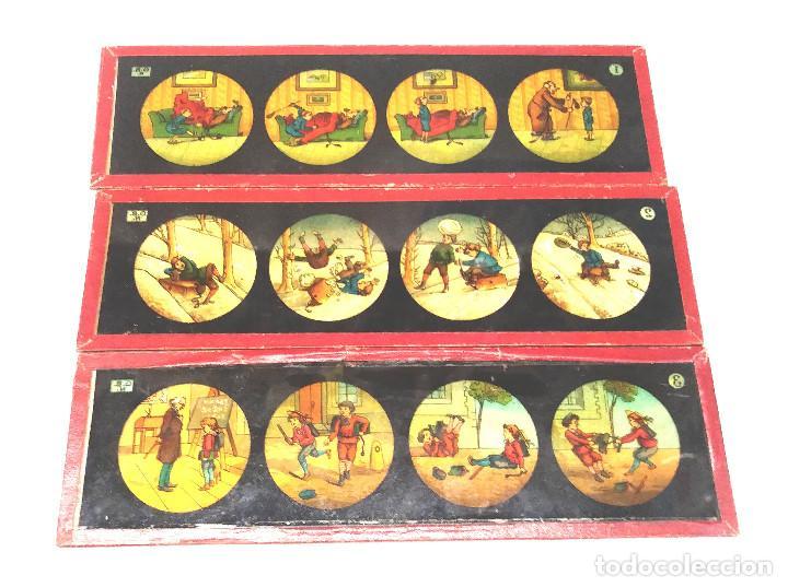 HISTORIETAS NIÑOS LOTE 3 CRISTALES PARA LINTERNA MAGICA S XIX. MED. 20 X 6 CM (Antigüedades - Técnicas - Aparatos de Cine Antiguo - Linternas Mágicas Antiguas)