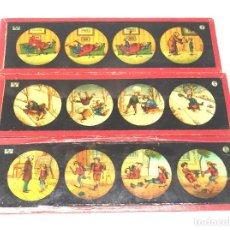 Antigüedades: HISTORIETAS NIÑOS LOTE 3 CRISTALES PARA LINTERNA MAGICA S XIX. MED. 20 X 6 CM. Lote 203547895