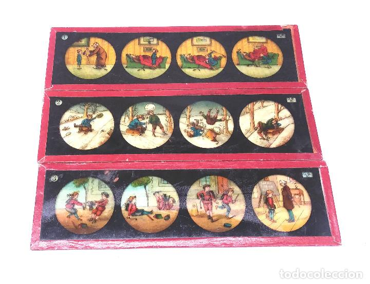 Antigüedades: Historietas Niños Lote 3 cristales para linterna Magica S XIX. Med. 20 x 6 cm - Foto 2 - 203547895