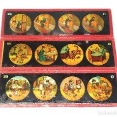 Antigüedades: HISTORIETAS FAMILIARES LOTE 3 CRISTALES PARA LINTERNA MAGICA S XIX. MED. 20 X 6 CM. Lote 203547907