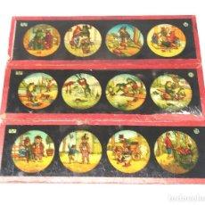 Antigüedades: HISTORIETAS CON ANIMALES LOTE 3 CRISTALES PARA LINTERNA MAGICA S XIX. MED. 20 X 6 CM. Lote 203547913