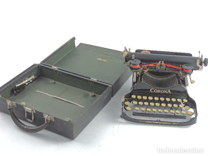 ANTIGUA Y RARA MAQUINA DE ESCRIBIR PORTATIL - CORONA PLEGABLE PIEZA DE COLECCION (Antigüedades - Técnicas - Máquinas de Escribir Antiguas - Otras)