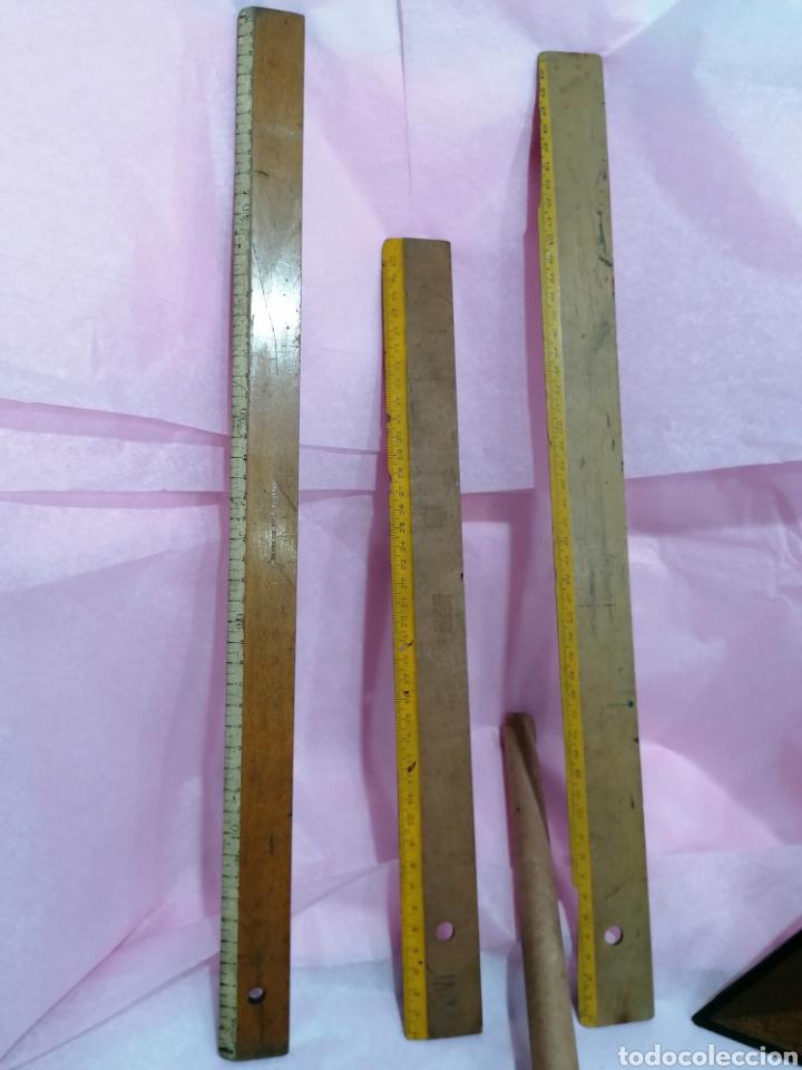 Antigüedades: Lote medición reglas y medidores laboratorio - Foto 2 - 204137455