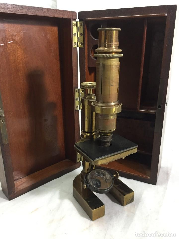 Antigüedades: ANTIGUO MICROSCOPIO MONOCULAR HARTNACK & PRAZMOWSKY c. 1870, EN SU CAJA - Foto 3 - 204169166