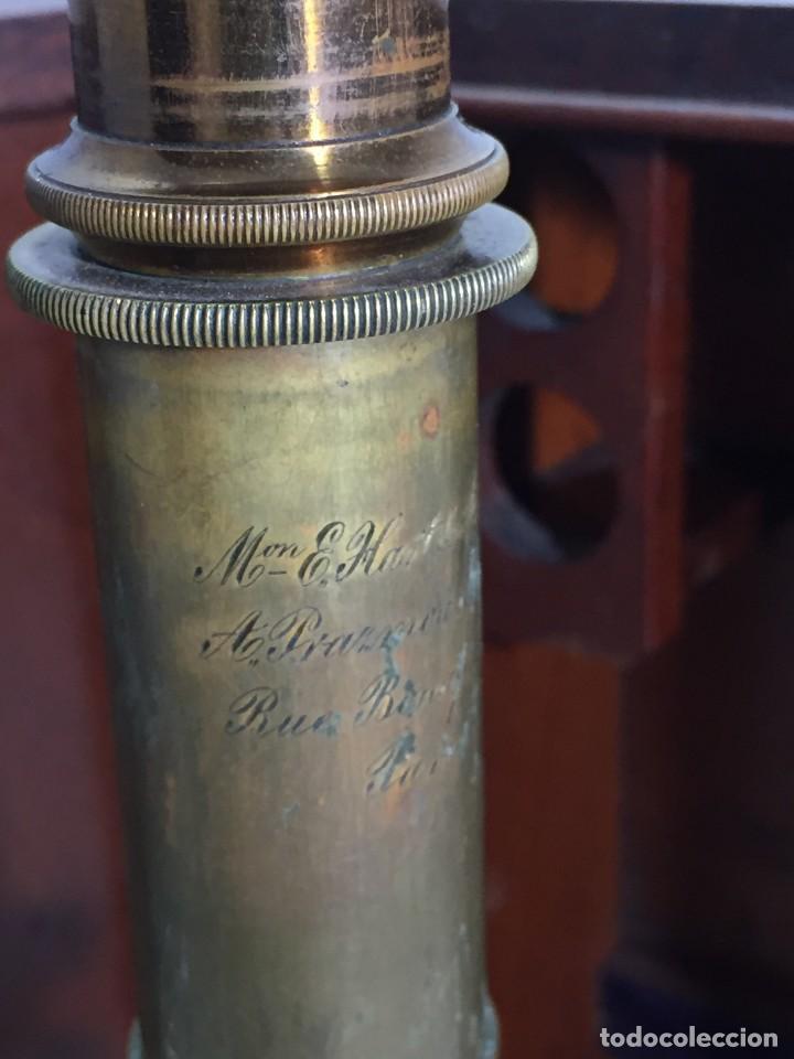 Antigüedades: ANTIGUO MICROSCOPIO MONOCULAR HARTNACK & PRAZMOWSKY c. 1870, EN SU CAJA - Foto 8 - 204169166