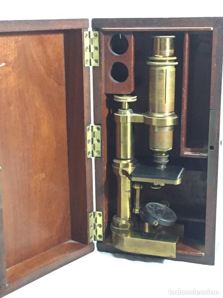 Antigüedades: ANTIGUO MICROSCOPIO MONOCULAR HARTNACK & PRAZMOWSKY c. 1870, EN SU CAJA - Foto 16 - 204169166