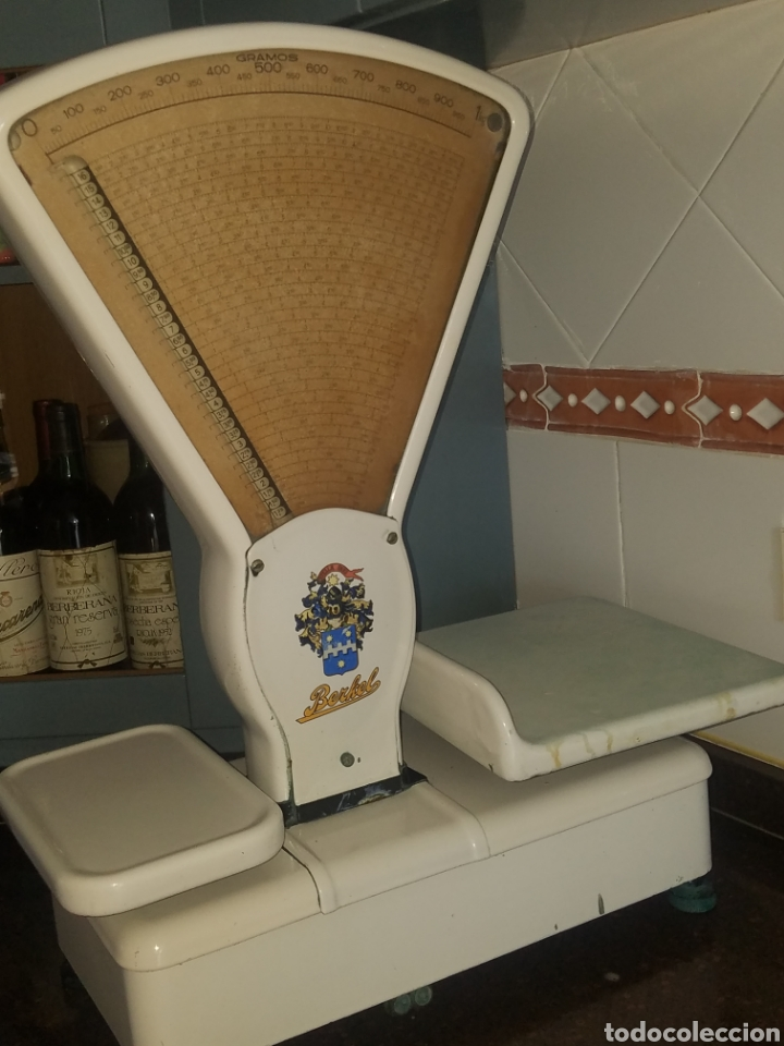 Antigüedades: Antigua Balanza Berkel Stella Duce Hierro forjado esmaltado porcelana blanca, Años 60. - Foto 4 - 204264718