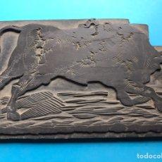 Antigüedades: TOROS, ANTIGUO TAMPÓN, SELLO DE IMPRENTA EN MADERA - PRINCIPIO DEL SIGLO XX. Lote 204265660