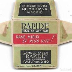 Antigüedades: ESPAÑA-FUNDA HOJA DE AFEITAR Y CUCHILLA MARCA RAPIDE-LAMETTA DA BARBA, RAZOR BLADE,LAME DE RASOIR. Lote 204552491