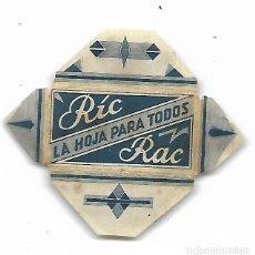 Antigüedades: ESPAÑA-FUNDA HOJA AFEITAR Y CUCHILLA MARCA RIC RAC-LAMETTA DA BARBA,RAZOR BLADE,LAME DE RASOIR. Lote 204606111