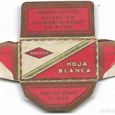 Antigüedades: ESPAÑA-FUNDA HOJA AFEITAR Y CUCHILLA MARCA HOJA BLANCA-LAMETTA DA BARBA,RAZOR BLADE,LAME DE RASOIR. Lote 204607010