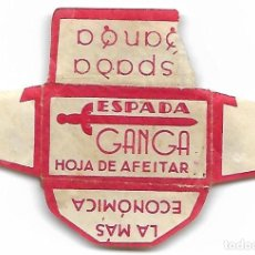 Antigüedades: ESPAÑA-FUNDA HOJA AFEITAR Y CUCHILLA MARCA GANGA-LAMETTA DA BARBA,RAZOR BLADE,LAME DE RASOIR. Lote 204730538