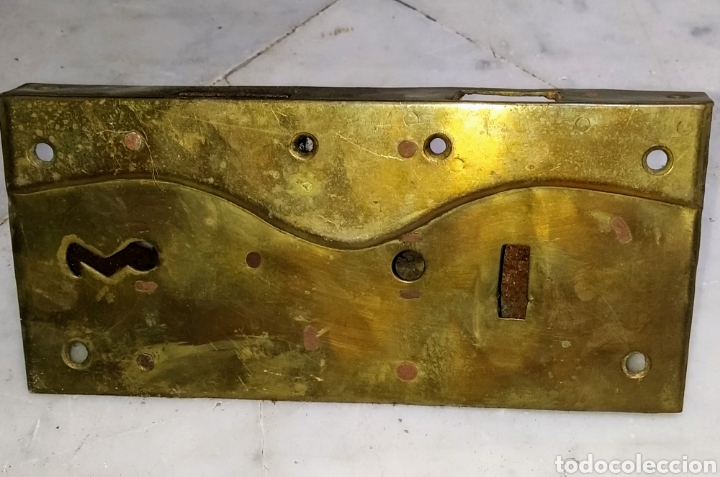 Antigüedades: Magnifica cerradura doble llave metal y hierro. Siglo XVIII. - Foto 3 - 204731572