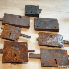 Antigüedades: 7 ANTIGUAS CERRADURAS DE HIERRO. Lote 204842935