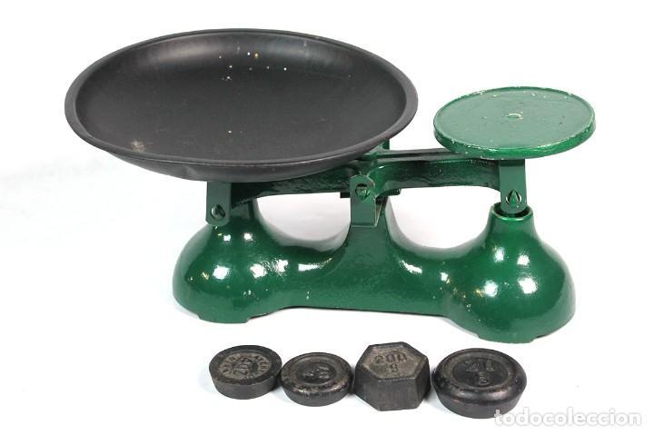 ANTIGUA BALANZA BASCULA DE COMERCIO CON SUS PESAS (Antigüedades - Técnicas - Medidas de Peso - Básculas Antiguas)