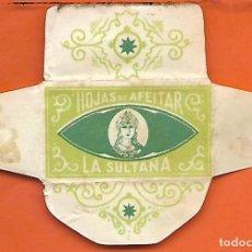 Antiquités: ESPAÑA-FUNDA HOJA AFEITAR Y CUCHILLA MARCA PLUMA -LAMETTA DA BARBA,RAZOR BLADE,LAME DE RASOIR. Lote 205046983