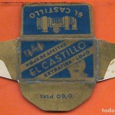 Antigüedades: ESPAÑA-FUNDA HOJA AFEITAR Y CUCHILLA MARCA EL CASTILLO -LAMETTA DA BARBA,RAZOR BLADE,LAME DE RASOIR. Lote 205052243