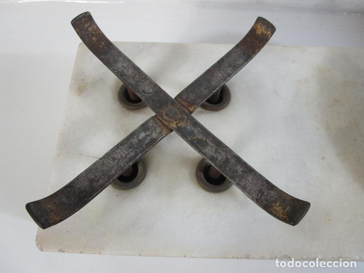 Antigüedades: Antigua Balanza de Tienda - Bascula sobre en Mármol - Madera y Marquetería - con Pesas - S.XIX - Foto 7 - 205167248