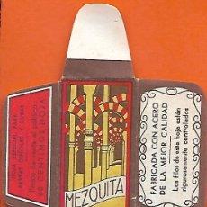 Antigüedades: ESPAÑA-FUNDA HOJA AFEITAR Y CUCHILLA MARCA MEZQUITA-LAMETTA DA BARBA,RAZOR BLADE,LAME DE RASOIR. Lote 205244107