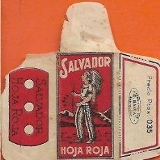 Antigüedades: ESPAÑA-FUNDA HOJA AFEITAR Y CUCHILLA MARCA SALVADOR-LAMETTA DA BARBA,RAZOR BLADE,LAME DE RASOIR. Lote 205252166