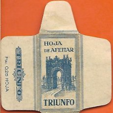 Antigüedades: ESPAÑA-FUNDA HOJA AFEITAR Y CUCHILLA MARCA TRIUNFO-LAMETTA DA BARBA,RAZOR BLADE,LAME DE RASOIR. Lote 205253771