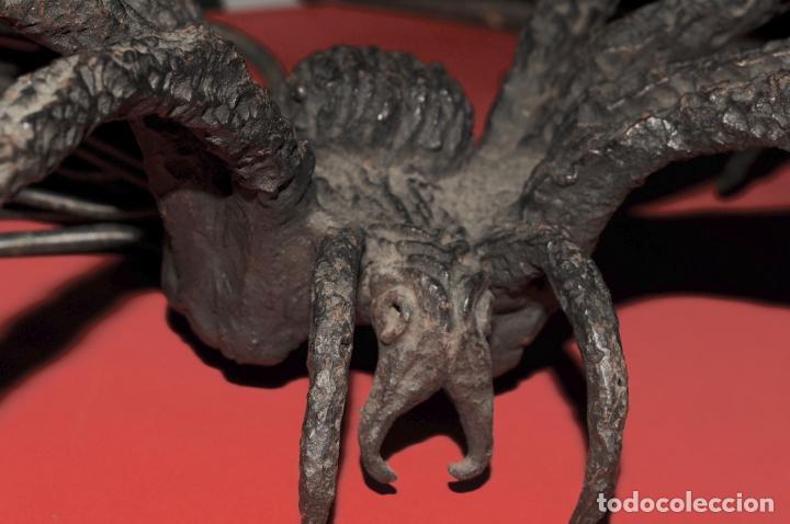 Antigüedades: EXTRAORDINARIA ARAÑA EN HIERRO FORJADO - Foto 2 - 205324097