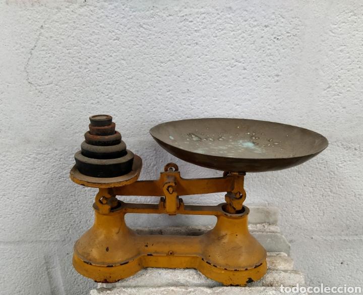 Antigüedades: Bonita peso completo con sus ponderales. Siglo XIX. - Foto 3 - 205456930