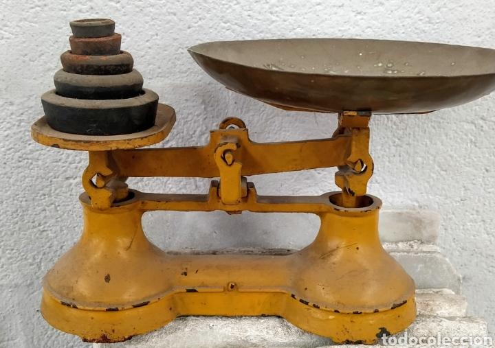 Antigüedades: Bonita peso completo con sus ponderales. Siglo XIX. - Foto 4 - 205456930