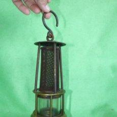 Antigüedades: PRECIOSO FAROL MINERO ALEMAN LAMPARA CANDIL CARBURO BRONCE HIERRO MINERIA FERROCARRIL AÑOS 30. Lote 205548210