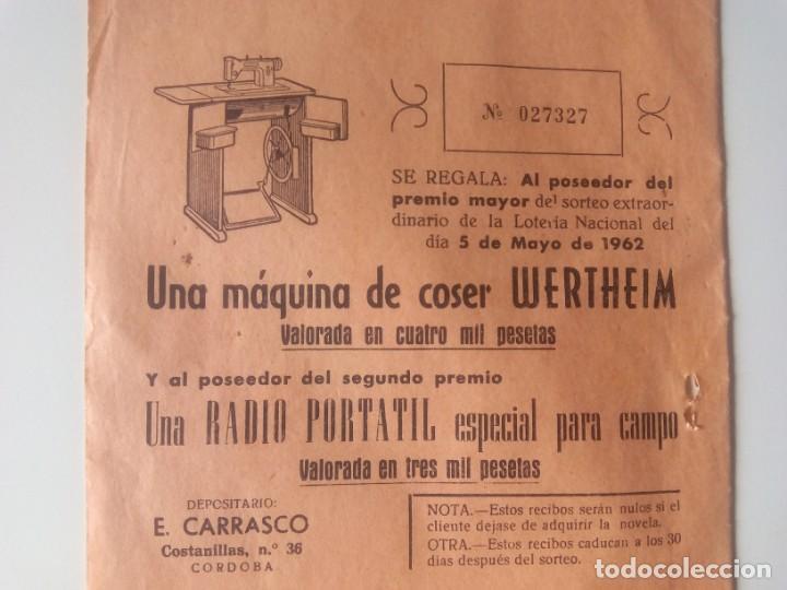 PARTICIPACIÓN SORTEO DE 1962, DE MÁQUINA DE COSER WERTHEIM (Antigüedades - Técnicas - Máquinas de Coser Antiguas - Wertheim )
