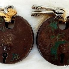 Antigüedades: ANTIGUOS CANDADOS DE SEGURIDAD TIPO DISCO (FUNCIONAN). Lote 205797618