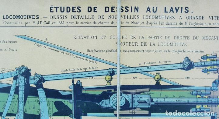 Antigüedades: Lámina tela, original,libro le practicien industriel,1870,imprenta Monrocq,Paris - Foto 2 - 205806367