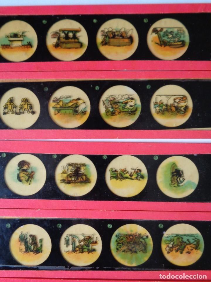 Antigüedades: 14 CRISTALES de LINTERNA MAGICA, MAX y MORITZ de WILHELM BUSCH, ANTIGUO ALEMAN - Foto 2 - 206222576