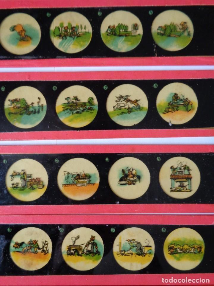 Antigüedades: 14 CRISTALES de LINTERNA MAGICA, MAX y MORITZ de WILHELM BUSCH, ANTIGUO ALEMAN - Foto 3 - 206222576