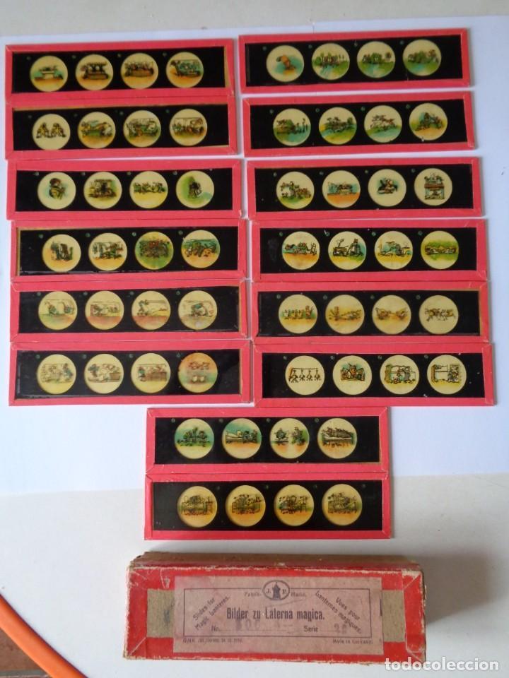 14 CRISTALES DE LINTERNA MAGICA, MAX Y MORITZ DE WILHELM BUSCH, ANTIGUO ALEMAN (Antigüedades - Técnicas - Aparatos de Cine Antiguo - Linternas Mágicas Antiguas)