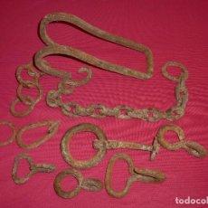 Antigüedades: LOTE DE FORJA ARGOLLAS,GANCHO,CADENA..... Lote 206407031
