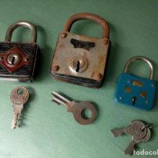 Antigüedades: LOTE 3 CANDADOS ANTIGUOS.. Lote 206452031