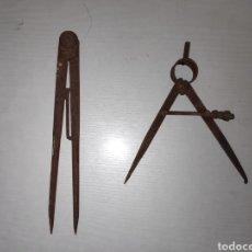 Antigüedades: LOTE DE 2 ANTIGUOS COMPASES. Lote 206555845