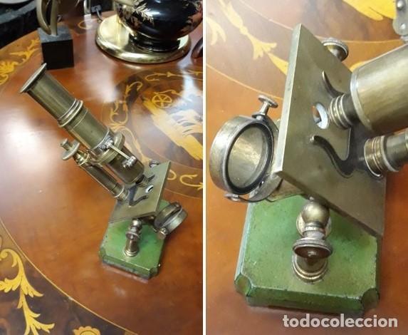 MICROSCOPIO FRANCES SIGLO XIX. ORIGINAL. BRONCE.MUY BUEN ESTADO. (Antigüedades - Técnicas - Instrumentos Ópticos - Microscopios Antiguos)