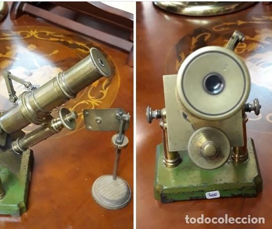 Antigüedades: MICROSCOPIO FRANCES SIGLO XIX. ORIGINAL. bronce.muy buen estado. - Foto 2 - 206762526