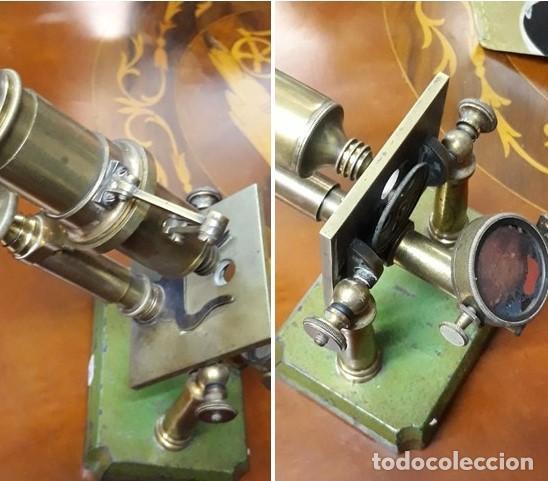 Antigüedades: MICROSCOPIO FRANCES SIGLO XIX. ORIGINAL. bronce.muy buen estado. - Foto 3 - 206762526